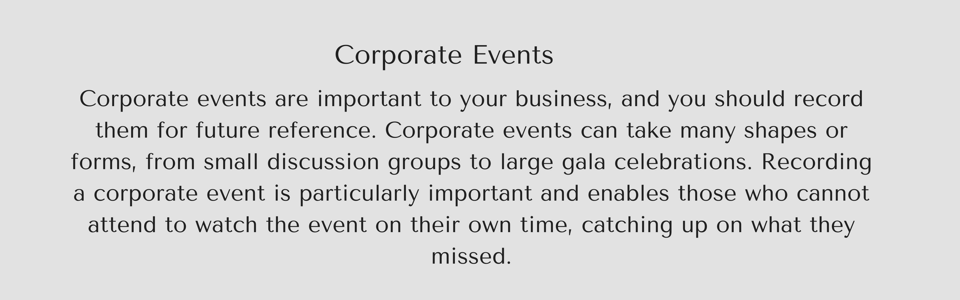 Corp event text