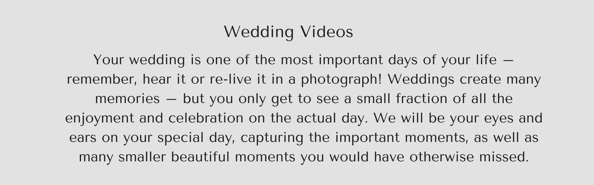 Wedding video text